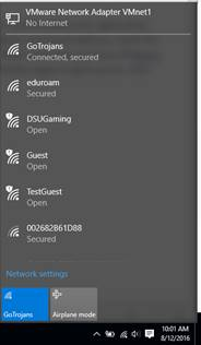 Available wireless network screen shot