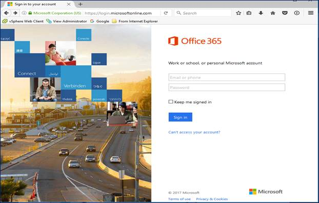 Screen shot of Office365 login portal