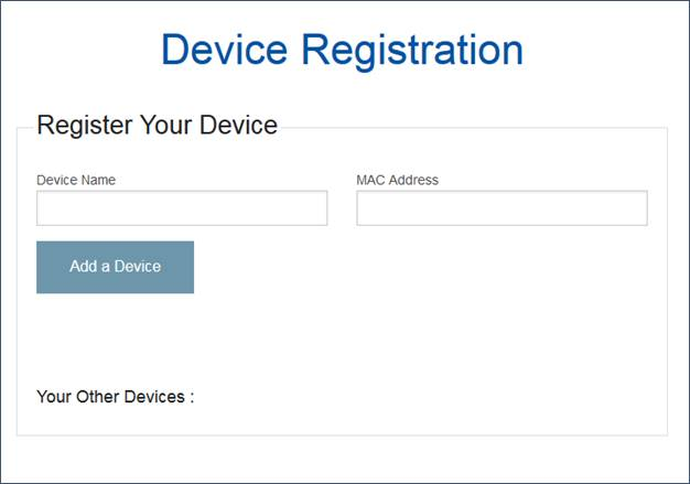 Device Registration webpage screen shot