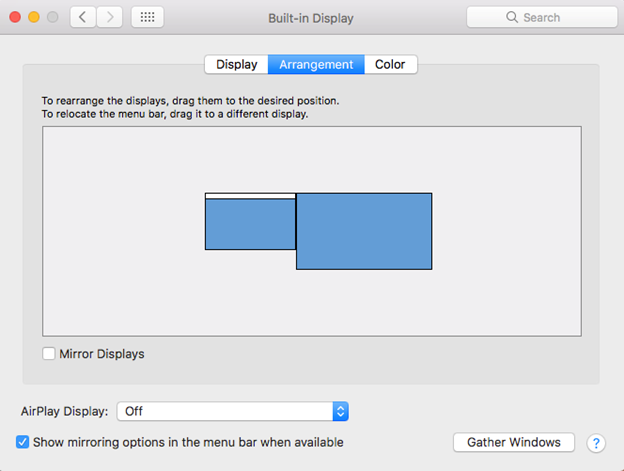 Built-in Display dialogue box with the arrangement tab selected screen shot