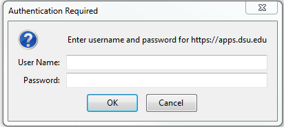 Authentication Required pop up screen shot