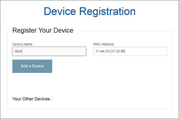 Entering fields for Device Registration screen shot