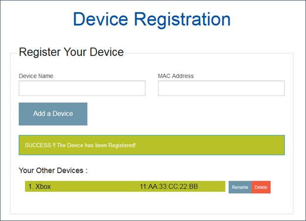 Successful device registration screen shot