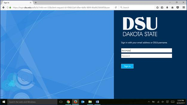 Screen shot of DSU login to Office365 portal