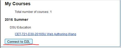 screen shot of My Courses, Connect to D2L button